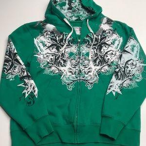 CARBON Mens Large Green Full Zip Hoodie Sweatshirt